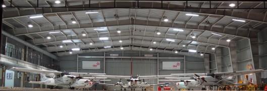 The hangar at dawn, before sunrise.