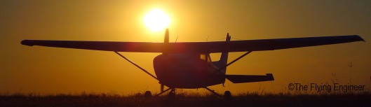 A student taxiing into the apron just before sunset.