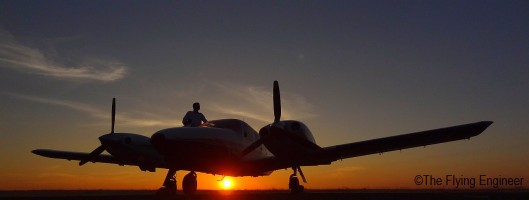 A Flight Instructor entering the twin engine Piper Seneca IV