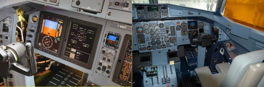 The Dividing Line: The clean and well presented -600 cockpit (left) and the cluttered -500 cockpit (right). Undoubtedly late, but worth the wait.