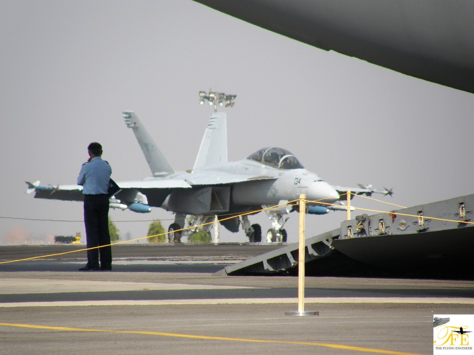 F/A-18 taxiing in after an ai display.