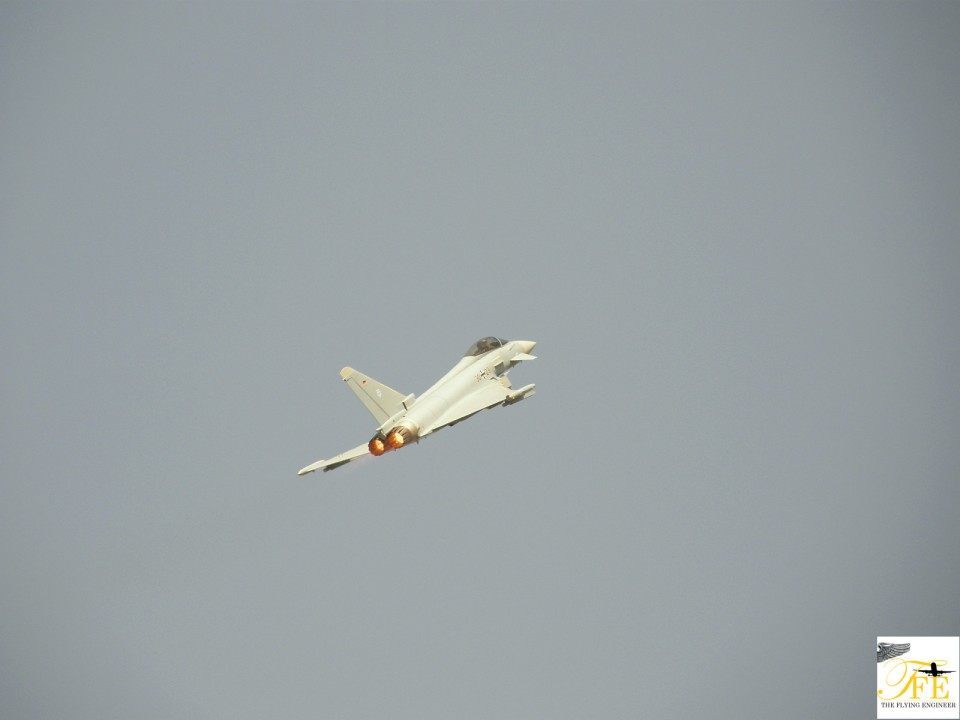 A Luftwaffe Eurofighter taking to the skies