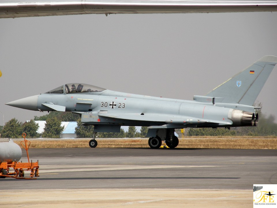 The Luftwaffe Eurofighter taxiing in