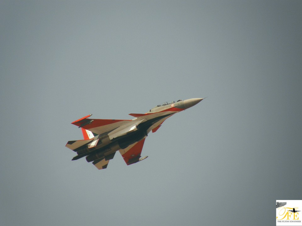 A Su-30 MKI flying with the Indian flag color scheme
