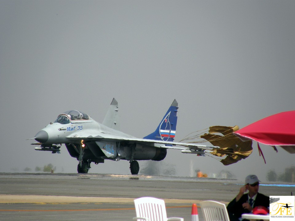 A MiG 35 landing after an air display.