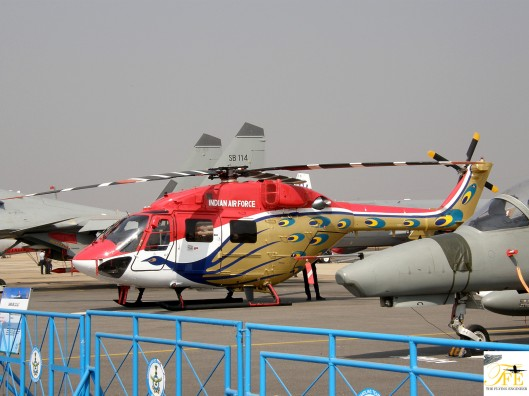 A Light Utility Helicopter that's part of the IAF's Sarang team: A rotary wing aerobatic group.