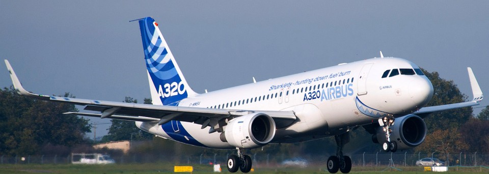 "Airbus's test A320 taking to the skies with its new ""Sharklets""."