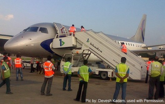 An Air Costa EMB 170 prepares for its test flight at Chennai (14th October 2013)