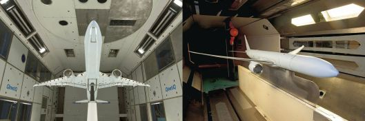 Left: Subsonic wind tunnel testing at QinetiQ's facility in Farnborough, U.K, Right: Trans-sonic wind tunnel testing at Boeing's Transonic Wind Tunnel in Seattle