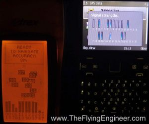 The Garmin unit picked up 11 Satellites, while the Nokia E72 picked up only 8 (blue bars).