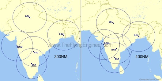 300Nm and 400NM range circles from metros